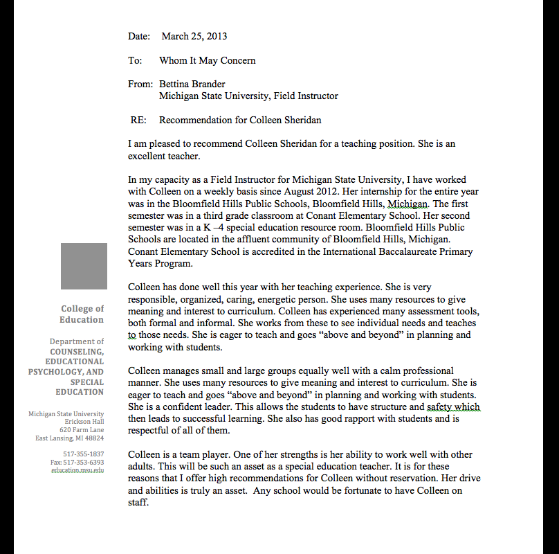 Letter Of Recommendation Working With Special Needs from colleensheridan.weebly.com